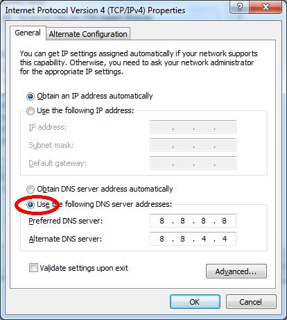 đổi DNS của máy tính hoặc điện thoái